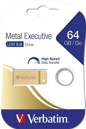 "USB kľúč, 64GB, USB 3.0,  VERBATIM ""Executive Metal"" zlatá"